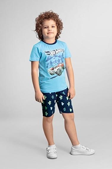 Hot Wheels Lisanslı Erkek Çocuk Bermuda Takım Mavi